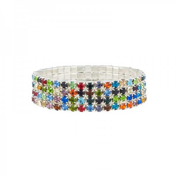 Four Row Multi Coloured Tennis Bracelet made with Sterling Silver & Swarovski Elements